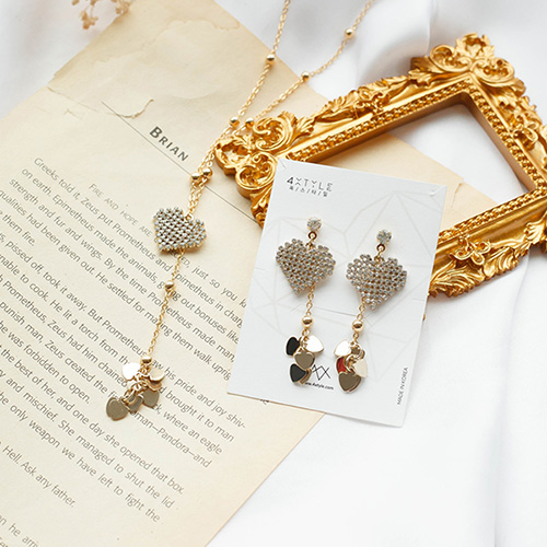 1049547 - [earrings + necklace] Manny heart set