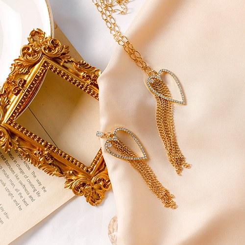 1049561 - <JS354_IH13> [earrings + necklace] Noah heart chain set