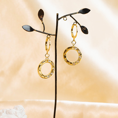 1049562 - <ER2229_GJ09> [handmade] Lonas round earrings