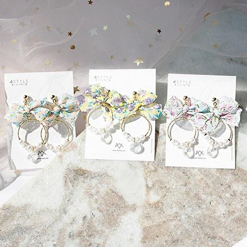 1049592 - <ER2231_GK06> pearl Ann floral ribbon earrings