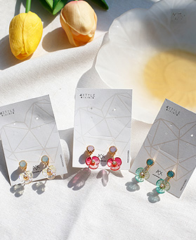 1049593 - <ER2232_GK07> [handmade] clear Flower two-way earrings