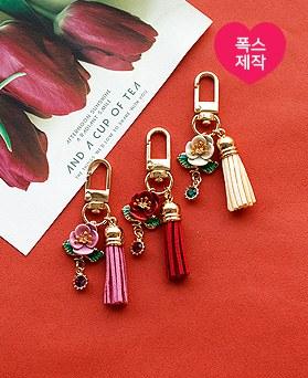 1049617 - [handmade] camellia tassel key ring