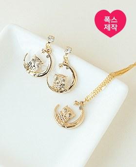 1049676 - <JS358_IH07> [handmade] [earrings + necklace] [Silver Post] moon owl set