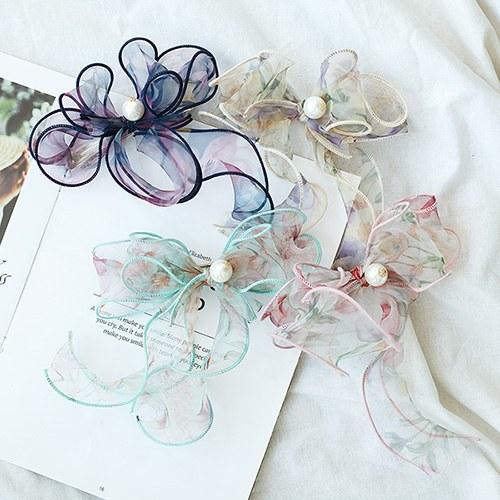 1049678 - <HA765_EG03> pearl Flower stitch ribbon hairpin