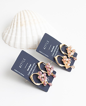 1050004 - <ER2250_DG10> [Silver Post] Snail Flower earrings