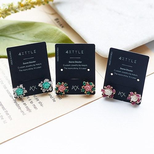 1050059 - <ER2253_DJ18> [Silver Post] Rosa rose earrings