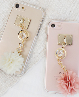 1050122 - Tricozy Flower Ball iPhone compatible transparent jelly case