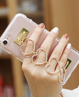 1050124 - Tricozy Heart-shaped Transparent Jelly Case for iPhone