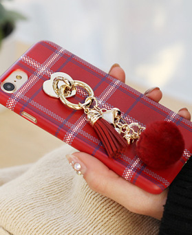 1050128 - Tricozy cotton check knit 3D curved iPhone compatible hard case