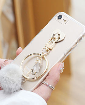 1050132 - Tricozy mink tassel iphone compatible transparent jelly case