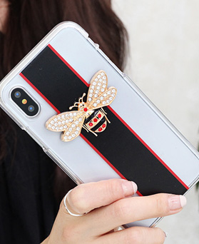 1050136 - Tri Cozy Crystal Honey Bee iPhone Compatible Transparent Jelly Case