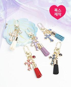 1050139 - <AP1009> [handmade] glass cross tassel key ring