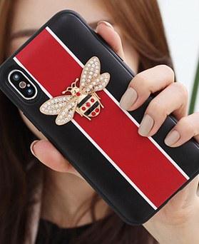 1050141 - TriCozy Crystal Honeybee iPhone compatible card door bumper case