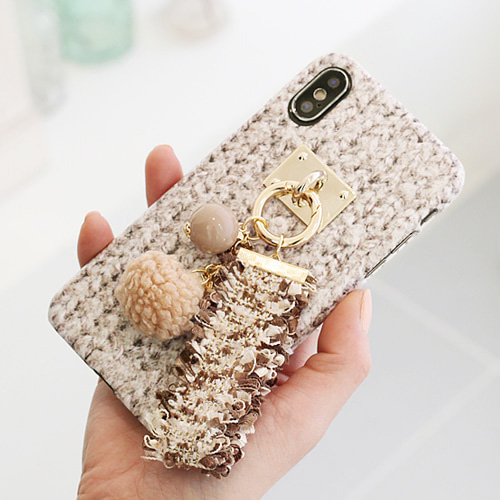 1050149 - TriCozy tweed tassel 3D curved iPhone compatible hard case