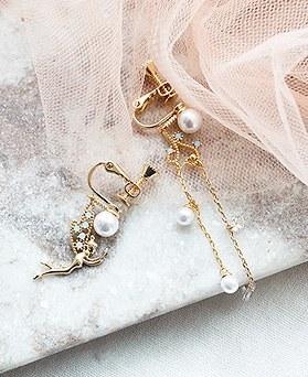 1050217 - <ER2263_DK09> [clip earring] fairy Unbalanced clip earring