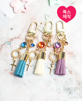 1050235 - [handmade] stone cross tassel key ring